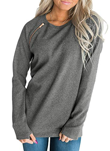 BLENCOT Womens Ladies Cute Pullover Sweatshirt Side Zip Long Sleeve Soft Long Tunic Shirt Tops Gray 4 6 Small