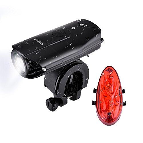 Joly Joy Luz de Bicicleta, Luces de Bici Delantera y Trasera, Faro con StVZO Impermeable IP65, Soporte de Bici & Casco, 3 Modos de Luz (Fuerte, Suave y Destello) Luz USB Recargable (Luz de Bici)