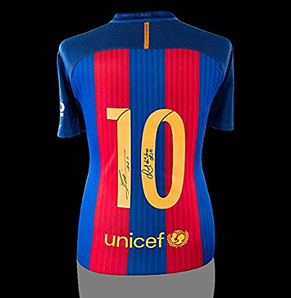 713f52fffed Image Unavailable. Image not available for. Color: Lionel Messi &  Ronaldinho Back Autographed Signed Barcelona Home Shirt - Certified Authentic  Soccer ...