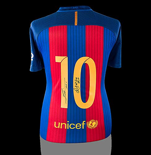 Lionel Messi & Ronaldinho Back Autographed Signed Barcelona Home Shirt - Certified Authentic Soccer Signature