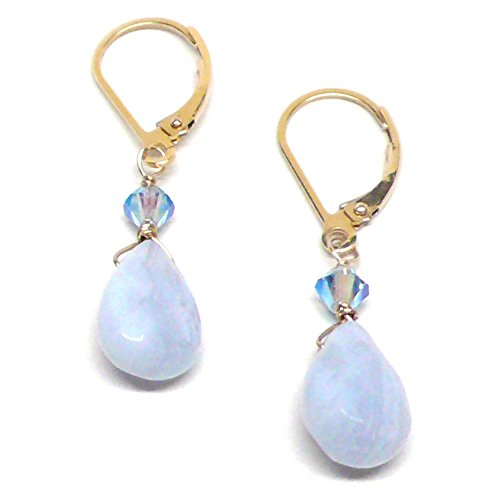 Agate Blue Agate Ring (Blue Lace Agate Briolette Lever Back Earrings Swarovski Crystal Gold-Filled)