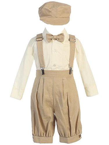 Lito Infant Toddler Boys Suspender Knickers with Long Sleeve Shirt and Hat (Khaki, 18-24 Months) from Lito