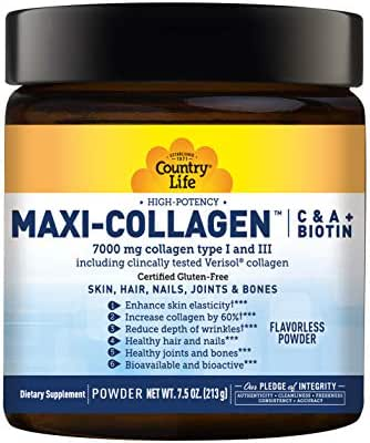 Country Life Maxi-Collagen Powder, High Potency- 7.5 Ounce