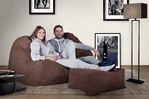 Lounge Pug® - CORD - Large Footstool - MOCHA BROWN - (Size 25cm H x 40cm D x 70cm Wide)