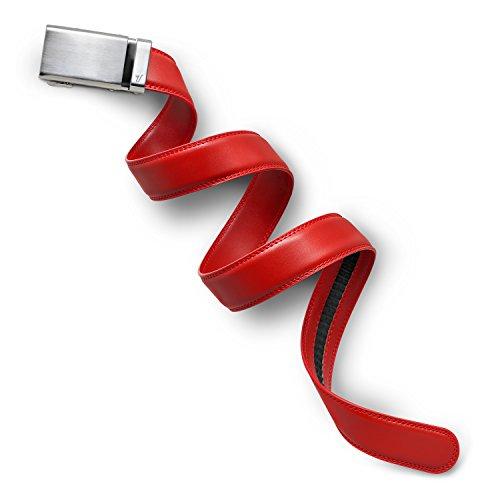 Mission Belt Men's Ratchet Belt - Alloy Buckle/Red Leather, Extra Large (39-42) -