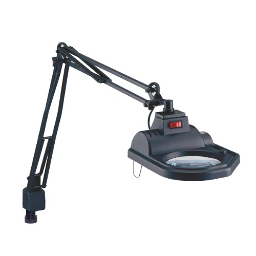 Electrix 7426 BLACK Magnifier Lamp, Halogen, 3-Diopter, Clamp-on Mounting, 45'' Reach, 100 Watt, 1,600 Raw Lumens by Electrix