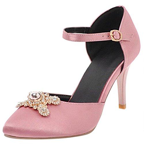 AIYOUMEI Damen Spitze Satin High Heels Pumps mit Knöchelriemchen und Strass Party Hochzeit Schuhe Rosa