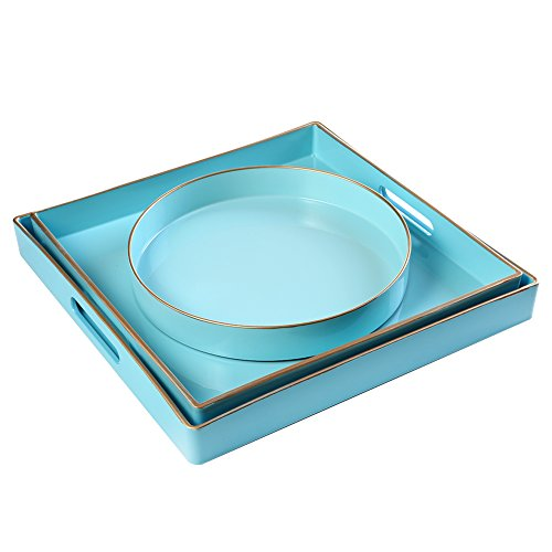 - CC Wonderland Serving Tray with Handles (Set of 3) Sea Blue, 2 squares and 1 small circle, Turquoise, Decorative tray for Ottoman & Coffee Table