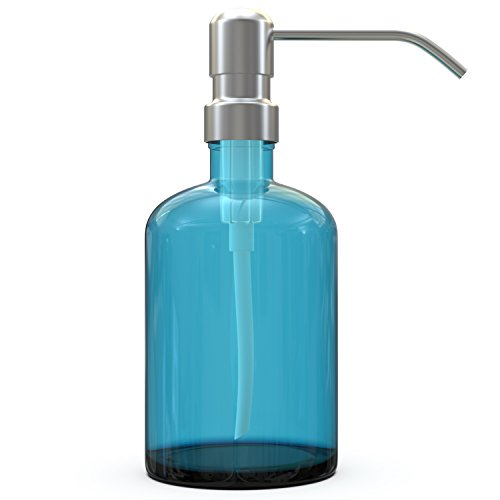 lass Soap Dispenser with Extra Long Stainless Steel Pump. 100% Quality Guarantee. Classic Modern Design for Kitchens or Bathrooms. Stylish Packaging with Re-usable Drawstring Bag. (Turquoise Recycled Glass)
