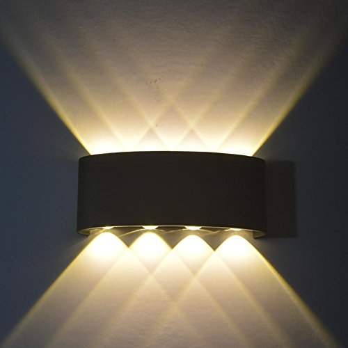 Childplaymate 8W LED Wall Light Led Wall Sconce Lights Decorative Lamp for Theater Store (Warm Light+ Black Shell)
