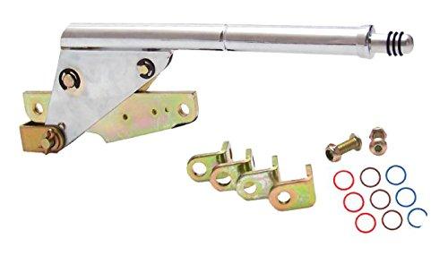 American Shifter 505315 700R4 Shifter Kit 10 E Brake CHR Push Btn Floor Hndl Billet Knob for EF8A6