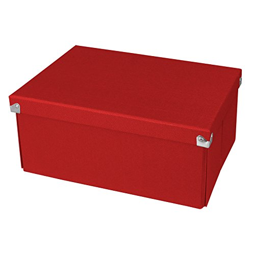 Pop n' Store Decorative Storage Box with Lid - Collapsible and Stackable - Medium Document Box  - Red - Interior Size - Box Document