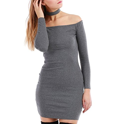 La Modeuse - Vestido - para mujer gris oscuro