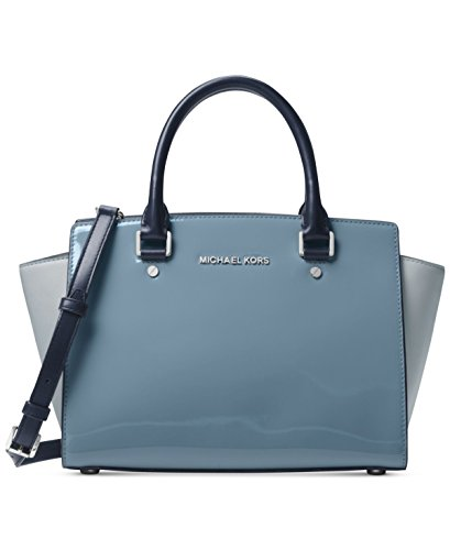 Michael Kors Women's Selma Medium Top Zip Satchel (Patent Denim) by Michael Kors