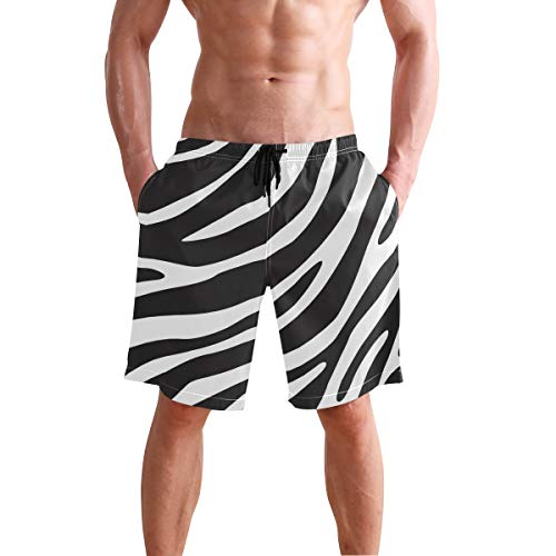 JTKPE Men's Swim Trunks Beach Shorts Zebra Print Design Board Shorts Bathing Suit (Trunk Ltd . Print Trunk)