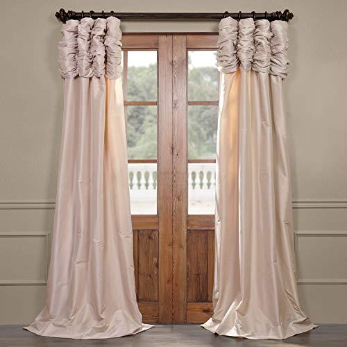 Half Price Drapes PTCH-130907-96-RU Ruched Faux Silk Taffeta Curtain, Antique Beige