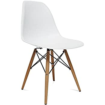 Amazon Com Fine Mod Wood Leg Dining Side Chair Chairs