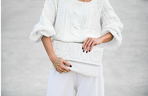 Zarapack de gran tamaño para mujer con tapas de piel sintética funda de piel con de letra bolso de mano piñón libre de más plegable - blanco