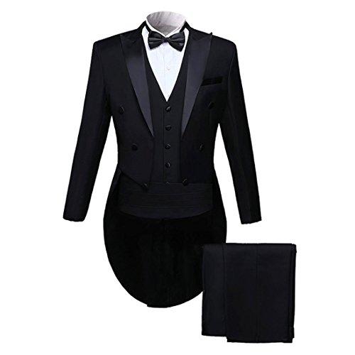 PYJTRL Men Classic 5 Piece Set Tailcoat Tuxedo (Jacket+Pants+Vest+Bow Tie+Cummerbund (Black, 2XL/US 42R)