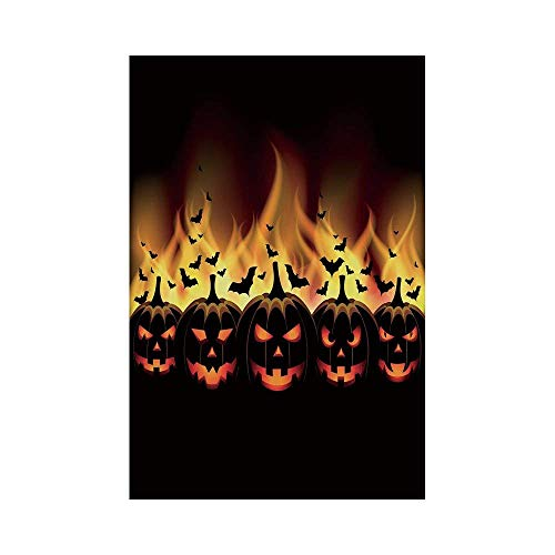 Polyester Garden Flag Outdoor Flag House Flag Banner,Vintage Halloween,Happy Halloween Image with Jack o Lanterns on Fire with Bats Holiday Decorative,Black Scarlet,for Wedding Anniversary Home Outdoo