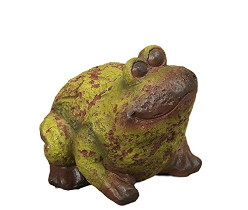 Sweet Weathered Terra Cotta Garden Frog Figurine 7.5'' (Green and Brown Chubby Frog w Tilted Head) by Gerson