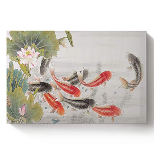 Fandim Fly Creative Art Paintings Canvas Oil Paintings Traditional Japanese Style with Koi Fish Lotus Flowers Folk Modern Design Wood Stretched Home Decor Ready to Hang 24x36inch
