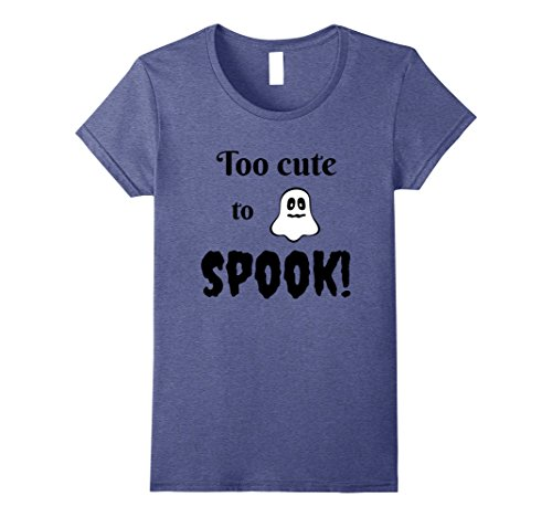 Womens Too Cute To Spook! Halloween Ghost Costume T-Shirt Small Heather Blue - Wearing A Halloween Costume To Work