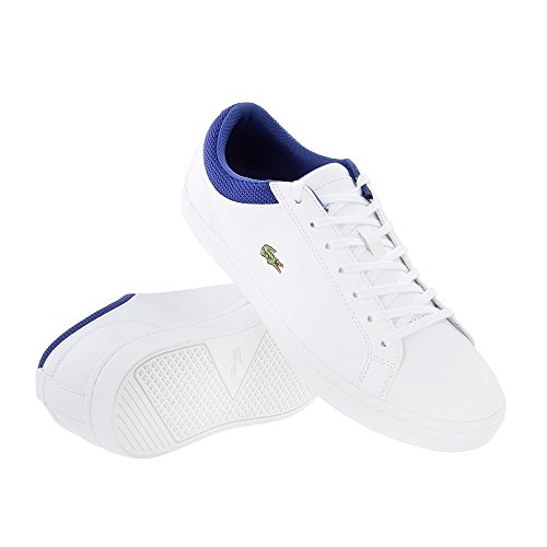 Lacoste Mens Straightset 117 2 Leather Lace Up Trainer White White