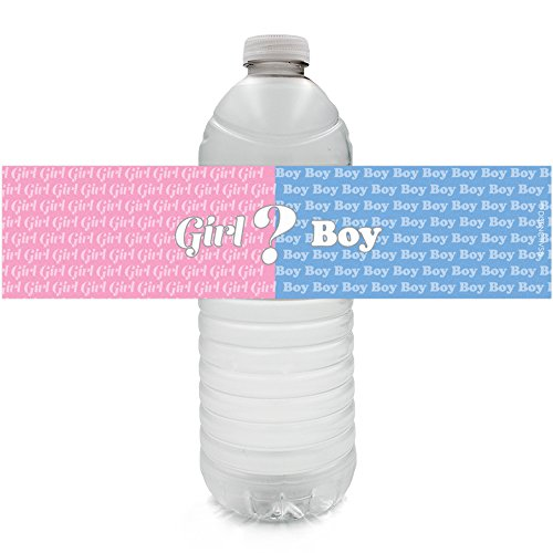 Baby Gender Reveal Party Water Bottle Labels (24 Count) -