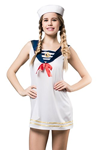 [Adult Women Sexy Sailor Halloween Costume Nautical Sea Girl Dress Up & Role Play (Standard)] (Pin Up Girl Costume Halloween)