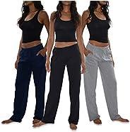 Sexy Basics Women's 3 Pack Soft Flex-Cotton Knit Pajama Pants/Lounge Pants/Sleep P