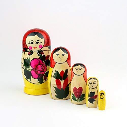 "- Heka Naturals Matryoshka Russian Nesting Dolls Semenov Classic Babushka Hand Made in Russia Red Top Wooden Gift Toy (5 Dolls (4.75""x2""))"