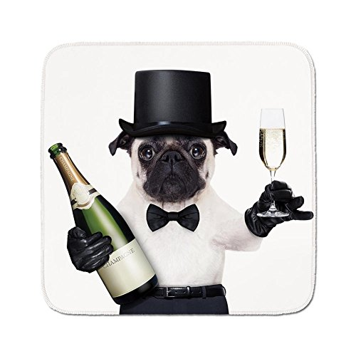 - Cozy Seat Protector Pads Cushion Area Rug,Pug,Celebration Dog with Champagne Bottle while Toasting Happy Moments Photographs,Black White Emerald,Easy to Use on Any Surface