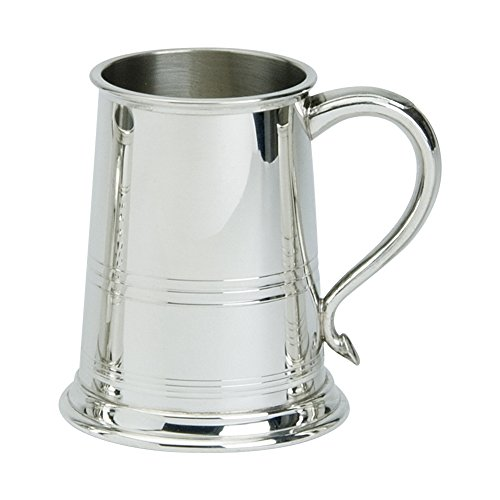 (Edwin Blyde & Co Bath Style 1 Pint Tankard with Solid Metal Base-Lined Pattern to The Body with Traditional Swan Handle, Pewter 11 x 14.5 x 11 cm)