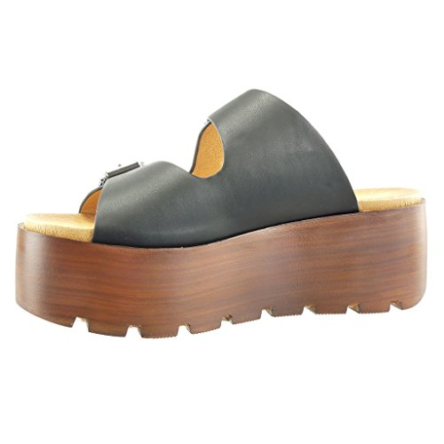 Schwarz Heel Plateauschuhe Keilabsatz Wooden Schleife Sabot Sandalen Angkorly cm Tanga Damen High String Schuhe 7 U4PZ6qT