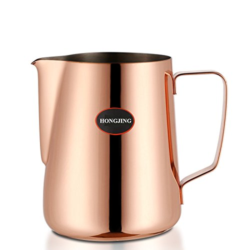 HONGJING Stainless Steel Milk Frothing Pitcher/Jug/Cup,Perfect for Milk/Coffee/Tea(600 (Conical Jug)