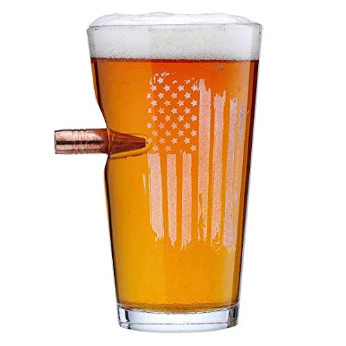 The Original BenShot US Flag Pint Glass with Real Bullet Made in the USA ()