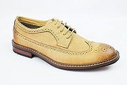 New Men's Ferro Aldo Wing Tip Shoes Lace Up Oxfords Denim Friendly 19312 (10 U.S (D) M, Dark Brown Chocolate)