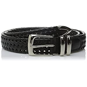 Perry Ellis Men's Portfolio Braided Belt, Black, 38