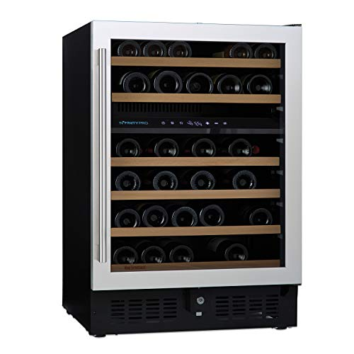 N'FINITY PRO S by Wine Enthusiast - 46 Bottle Dual Zone Built-In/Free-Standing Wine Fridge, Stainless Steel