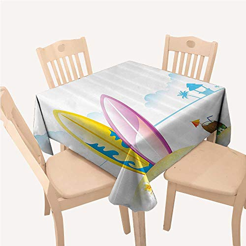 (Surfboard Decor Collection Printed Tablecloth Surfing Board with Tender Coconut on Sea Beach Bungalow Horizon Seascape ImageBlue Yellow White Square Tablecloth W54 xL54)