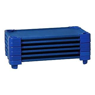 "Sprogs Heavy Duty Standard Daycare Preschool Naptime Cot for Kids (Pack of 6) -52""L x 23""W x 5""H, Blue"