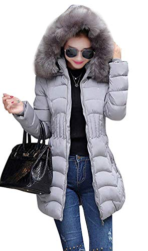 Longues Hiver Fourrure Chaud El Femme Doudoune avec Parka Grande Capuchon Manteau Taille XwH6pd
