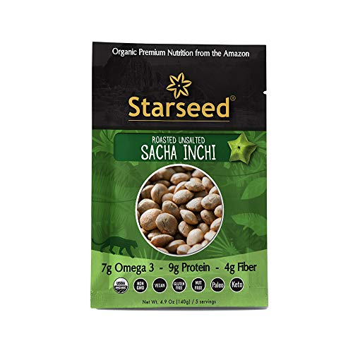 Starseed Organic Sacha Inchi seeds gluten-free, keto, and paleo friendly snack, 4.9oz Bag, 5 Servings (Roasted Unsalted)