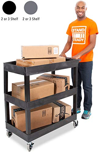 Tubstr 3 Shelf Utility Cart | Heavy Duty Service Cart Supports Up to 400 lbs | Tub Cart with Deep Shelves | Great for Warehouse, Garage, Cleaning, Office & More (32 x 18 / Black)