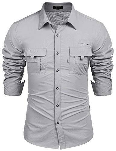 COOFANDY Men Classic Fit Moisture-Wicking Big Tall Casual Button-Down Solid Shirt Grey (Arm Sleeves For Uv Sunrays Summer Protection)