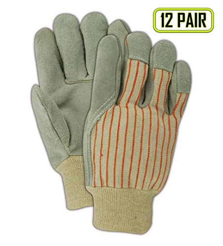 Magid Glove & Safety AWT20 DuraMaster Gunn Cut Cow Split Leather Palm with Knit Cuff, Split, Large, Gray (Pack of 12)