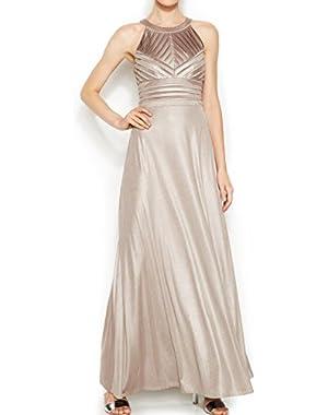 Calvin Klein Dark Women's Embellished Ball Gown Beige 6