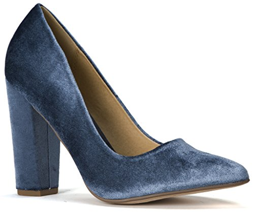 Lust Have Women's Pauline Pointed Pointy Toe Chunky Wrapped High Heel Dress Pumps Light Blue Velvet 6