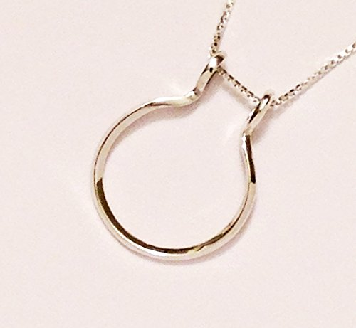 Ring and Charm Holder Necklace, Smooth Open Circle by Ali C Art, Made In The USA, Unique Handmade Sterling Silver Jewelry, Keepsake Gift for Her, Wife, Mother, Daughter, Friend, Girlfriend